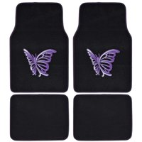 BDK MT-509-PP White Purple Butterfly Design Carpet Car Floor Mats for Auto Van Truck SUV-4 Pieces Front & Rear Full Set with Rubber Backing-Universal Fit