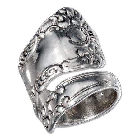 STERLING SILVER SPOON RING WITH SWIRL DESIGN AND ANTIQUED FINISH