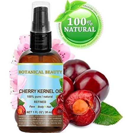 CHERRY KERNEL OIL. 100% Pure / Natural /Refined / Undiluted Cold Pressed Carrier Oil for Face, Body, Feet, Hair, Massage and Nail Care. 1 Fl. oz- 30 (Best Oil For Feet Massage)