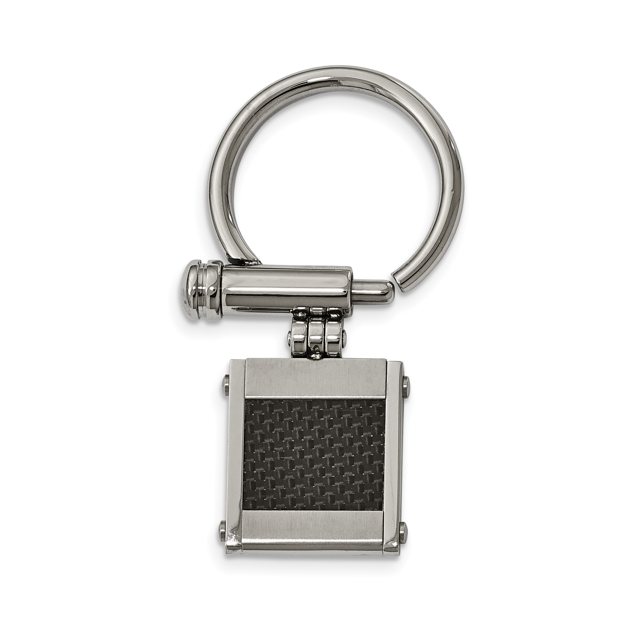 Stainless Steel Brushed and Polished Black Carbon Fiber Inlay Key Ring by CoutureJewelers