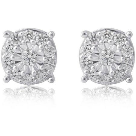 3/4 Carat T.W Diamond Sterling Silver Cluster Earrings