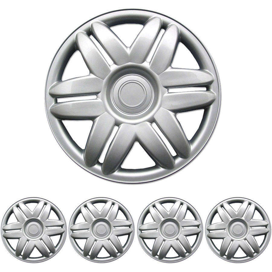 "BDK Hubcaps 15"" 4 Pieces, Silver, OEM Replacement, New Design"