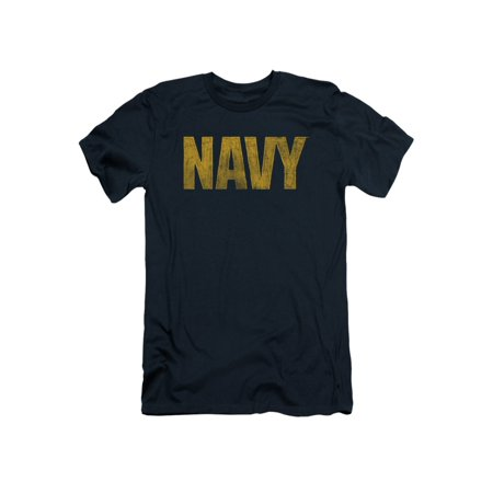 Navy Logo Simple Rough Classic Original Logo Heather Adult Slim (Adult Navy S/s T-shirt)