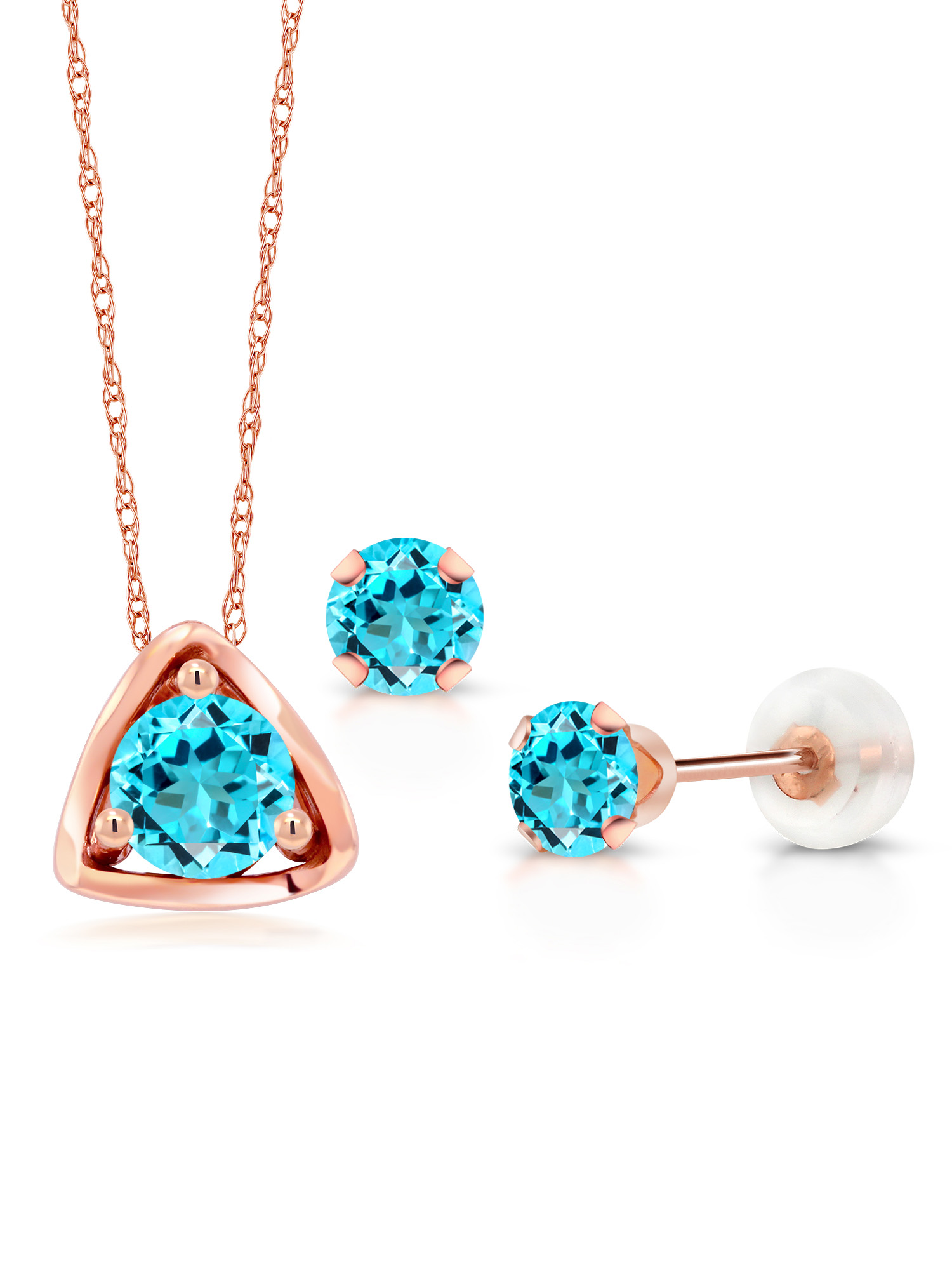 1.21 Ct Round Swiss Blue Topaz 10K Rose Gold Pendant Earrings Set by