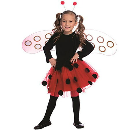 Dress Up America Ladybug Dress Costume Set - Size Large (12-14) (Easy Ladybug Costume)