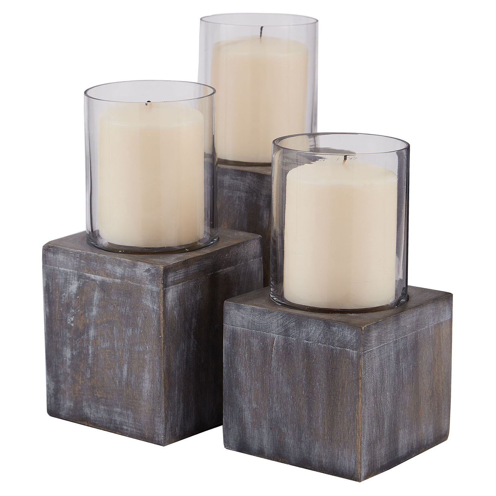 Dimond Home Dark Grey Stain Hurricane Candle Holder - Set of 3