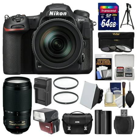 Nikon D500 Wi-Fi 4K Digital SLR Camera & 16-80mm VR with 70-300mm VR Lens + 64GB Card + Case + Flash + Battery & Charger + Tripod + Kit