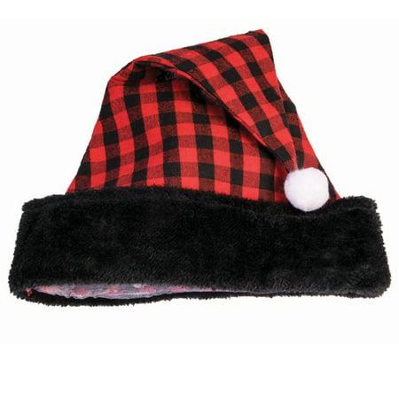 Festive Christmas Buffalo Plaid Cabin Santa Costume Hat, Black Red, One-Size 7