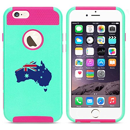 cheap for discount 7bc82 8c68c Apple iPhone 6 Plus / 6s Plus Shockproof Impact Hard Case Cover Australia  Australian Flag (Light Blue-Hot Pink),MIP