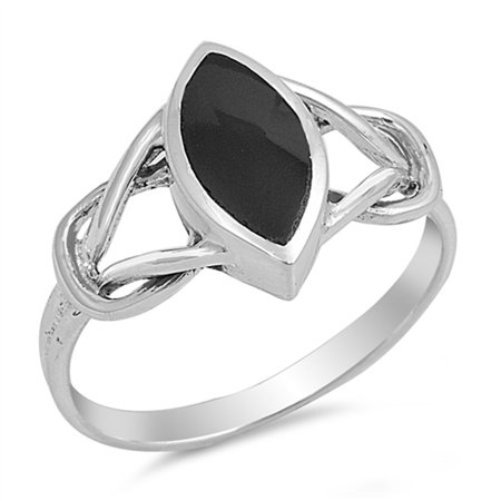 CHOOSE YOUR COLOR Simulated Black Onyx Knot Open Ring New .925 Sterling Silver Band (Open Knot Ring)