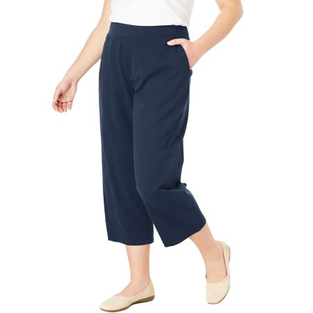 e8502ff8f12 Woman Within - Plus Size Wide Leg Cropped Relaxed Knit Pant ...