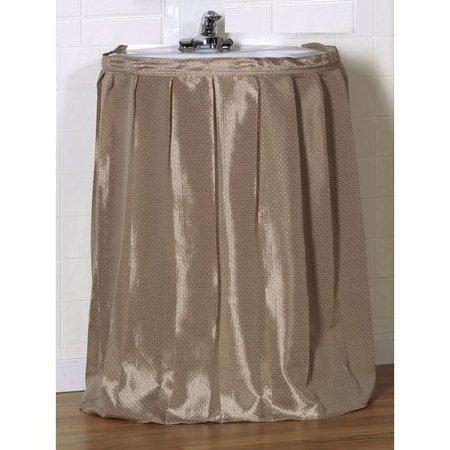 """Lauren"" Diamond-Piqued, 100% Polyester Sink Drape in Linen"