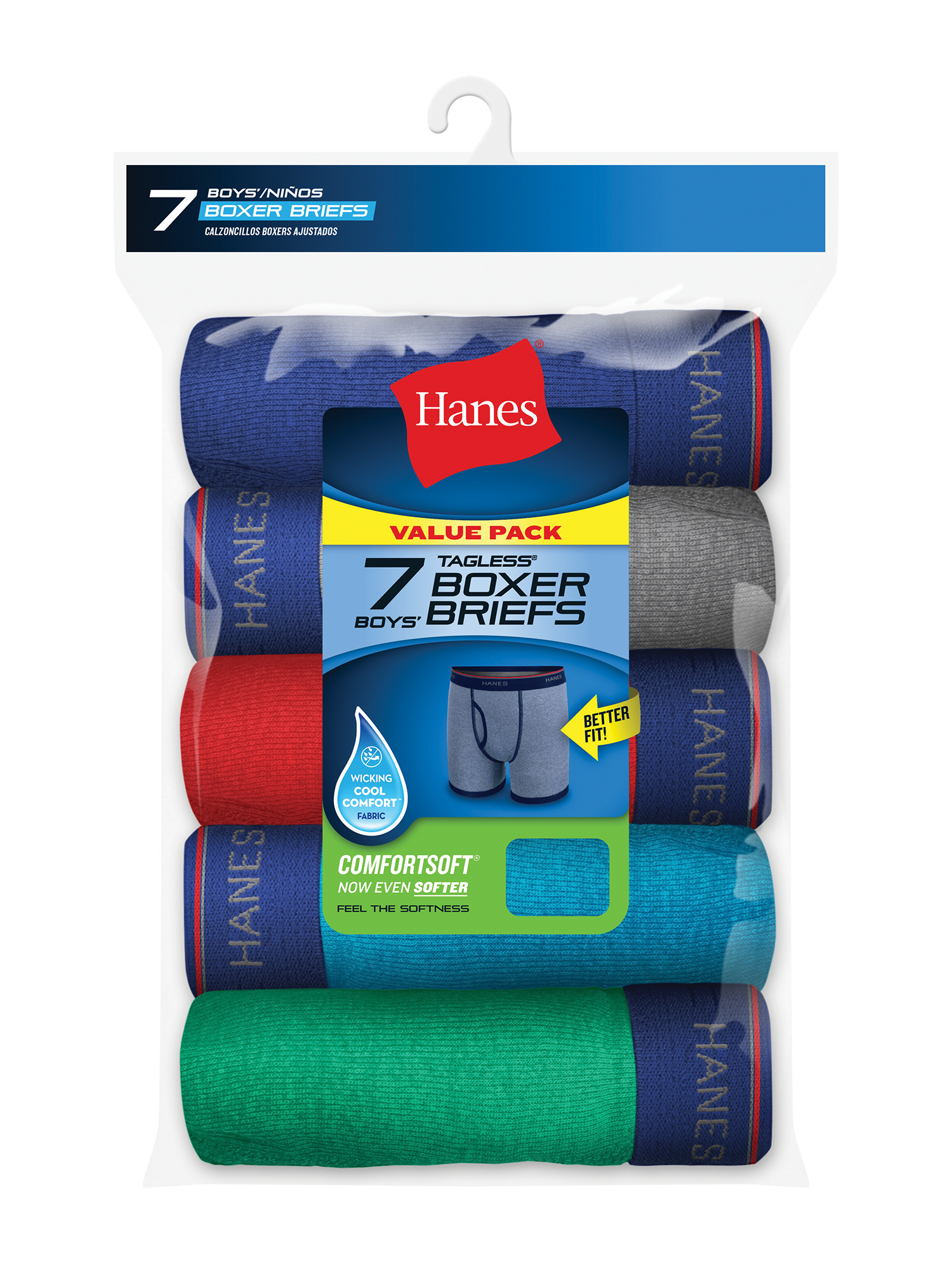 Hanes Tagless Boy's Boxer Briefs, 7 Pack, Small