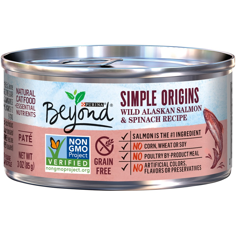 Purina Beyond Simple Origins Grain Free Wild Alaskan Salmon & Spinach Recipe Wet Cat Food, 3-oz, Case of 12