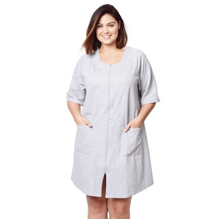 Dreams & Co. Plus Size Short French Terry Zip-Front Robe