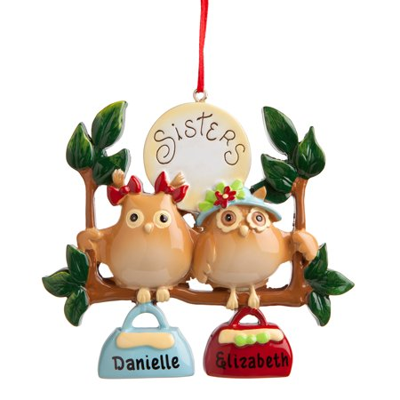 Christmas Personalized Ornaments (Sister Gift - 2 Owl Sisters Personalized Christmas)