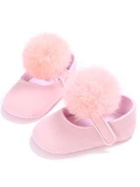 Infant Baby Girl Cute Pom Pom Anti-Slip Crib Shoes Pre-Walker Shoes 0-18M, 5 Colors (Pink, 3/12-18 Months)