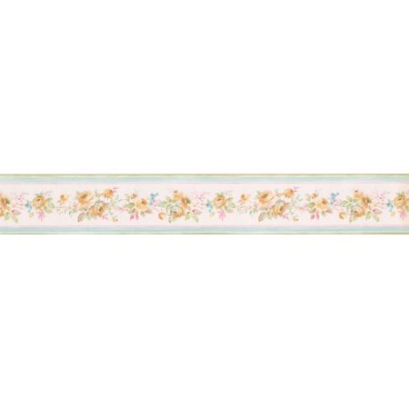 Yellow Roses in Bouquet Pale Pink Floral Wallpaper Border Retro Design, Roll 15' x 3.5'' - image 1 of 3