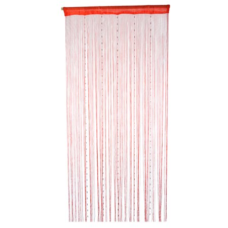 Unique Bargains Home Window Decor Room Diver Doorway Screen Wall Panel Hangings String Curtain Red 200 x 100cm