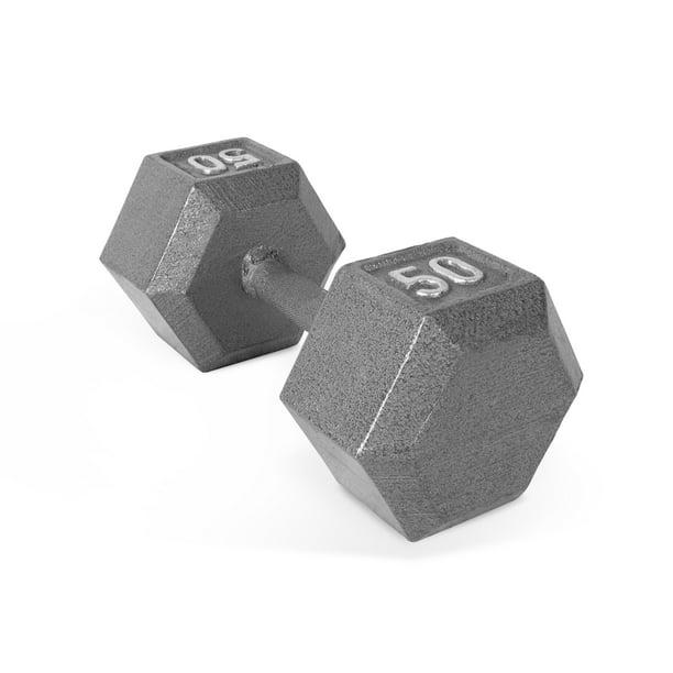 AmazonBasics Cast Iron Hex 25 lb Dumbbell Set 50 lbs TotalWeights CAP Weider