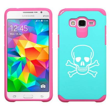 For Samsung Galaxy Core Prime Shockproof Impact Hard Soft Case Cover Skull Crossbones (Light Blue-Hot (Crossbones Heart)