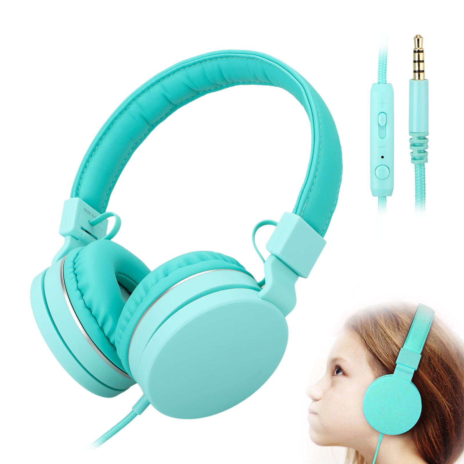Wired Child Kids Headphones Volume Limited Headset Built-in Microphone Elegant and Fashion Earphone for School Children/Kids