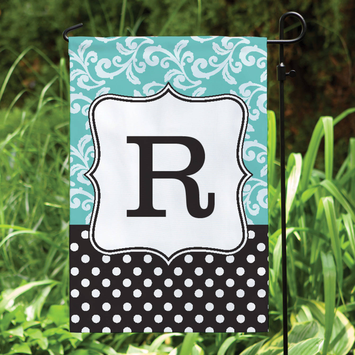 Filigree and Dot Personalized Garden Flag