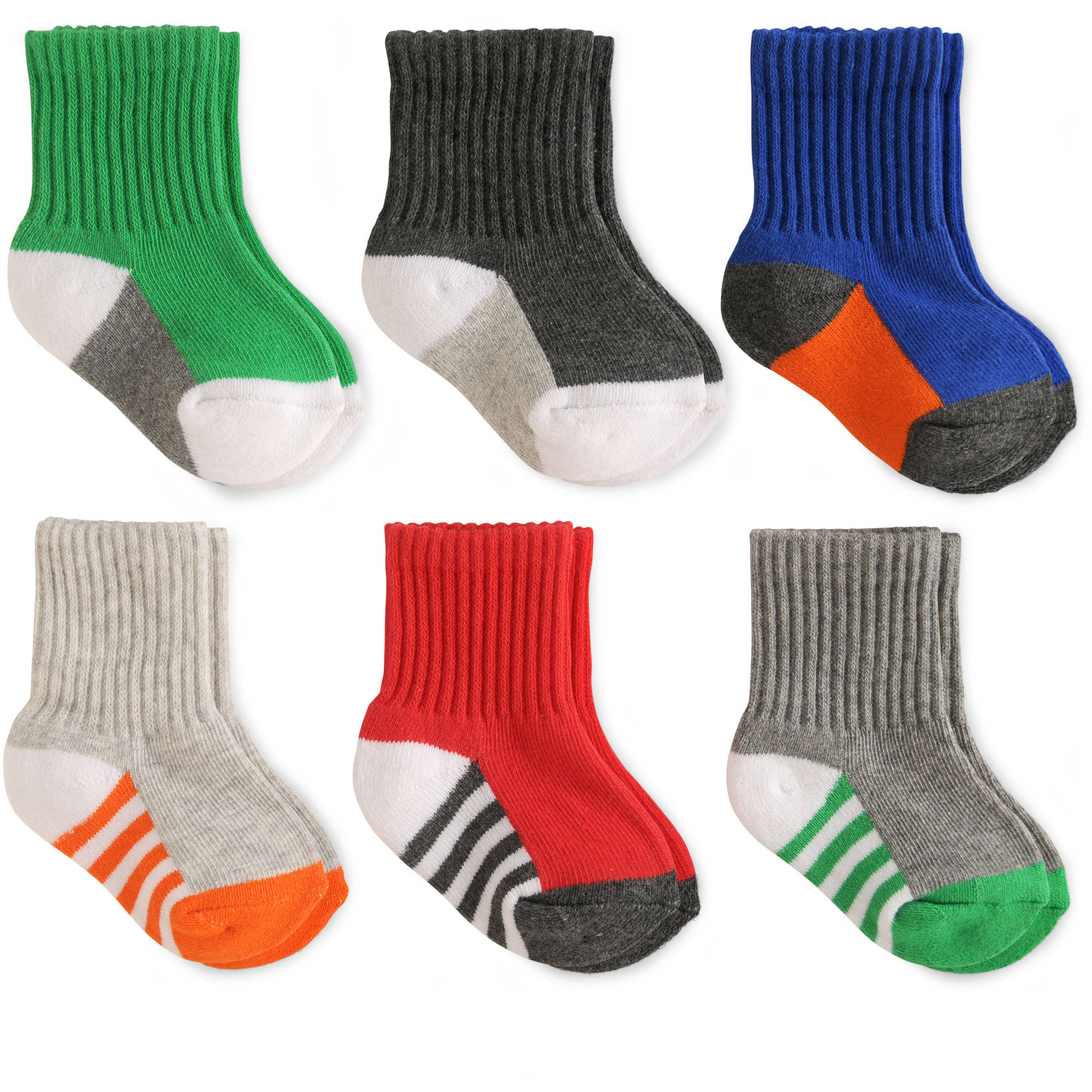 Garanimals Baby Toddler Boy Assorted Socks, 6-Pack