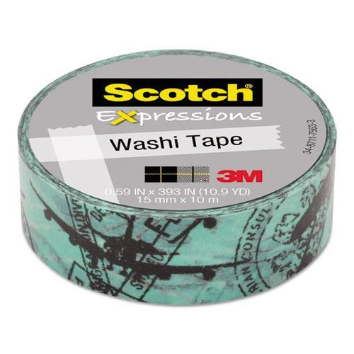 "3m C314P25 Expressions Washi Tape, .59"" X 393"", Airplane"
