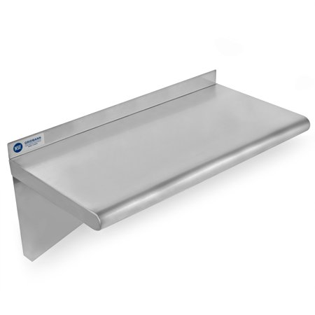 GRIDMANN NSF Stainless Steel Kitchen Wall Mount Shelf Commercial Restaurant Bar w/ Backsplash - 12