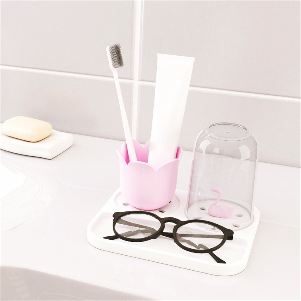 Plastic Water Cup Lovely Tooth Cleaning Sanitary Washing Tool Swan Shaped  Washing Cup Set Brush Tool Storage Box Toothbrush Holder Stand Bathroom ...