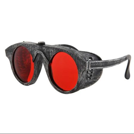 Steampunk Forgeman Silver & Red Costume Goggle Glasses Adult (Cheap Steampunk Goggles)