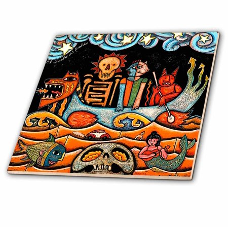3dRose The Devil s Dream folk art skulls mexican colorful surrealism - Glass Tile, 8-inch Colorful Mexican Folk Art