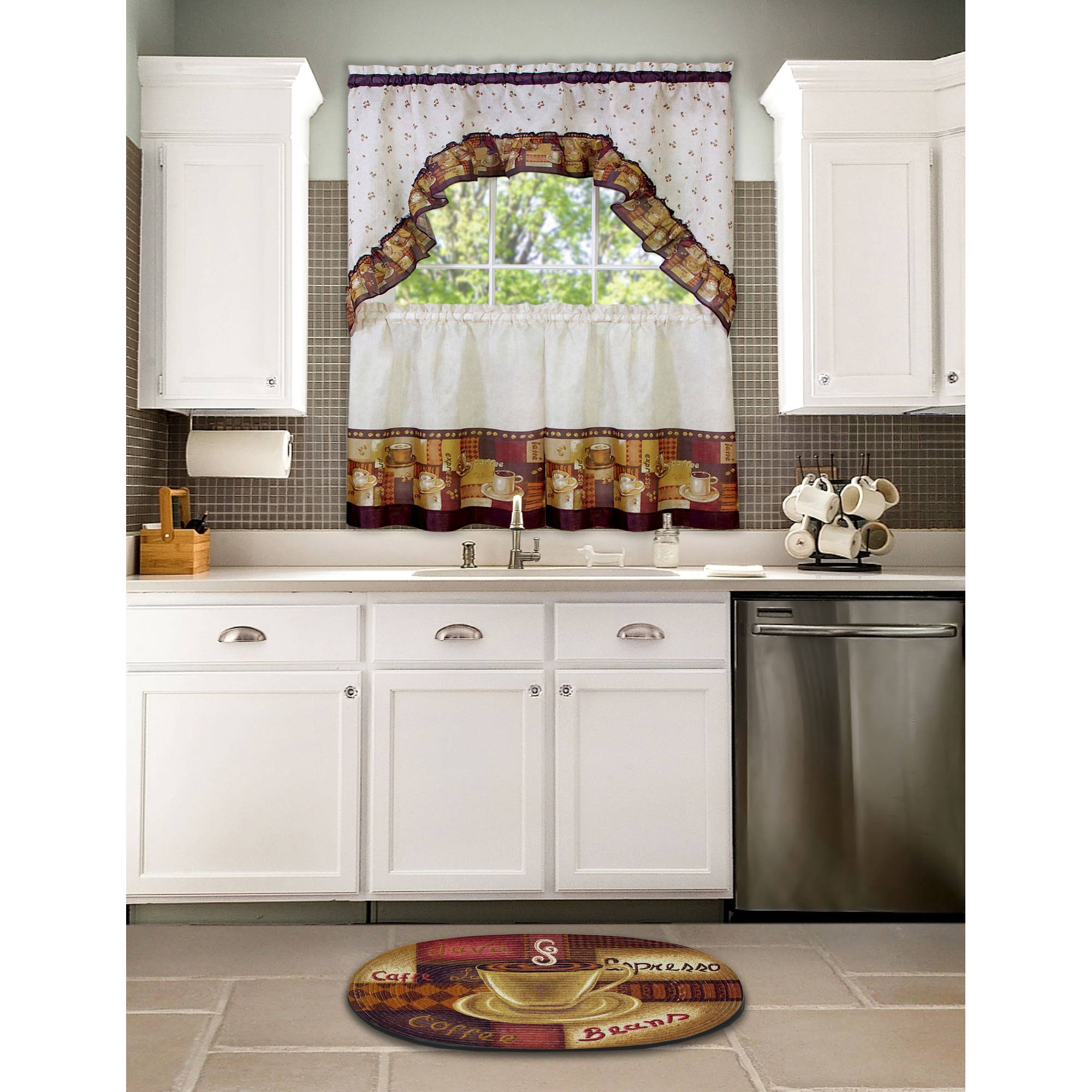 Achim Kitchen Curtain and Swag Set, Coffee - Walmart.com
