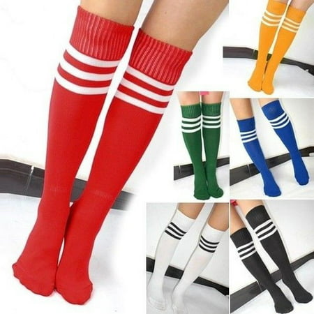 Black And White Striped Stockings (Striped Knee High Football Socks Soccer Hockey Sport Long Tube)