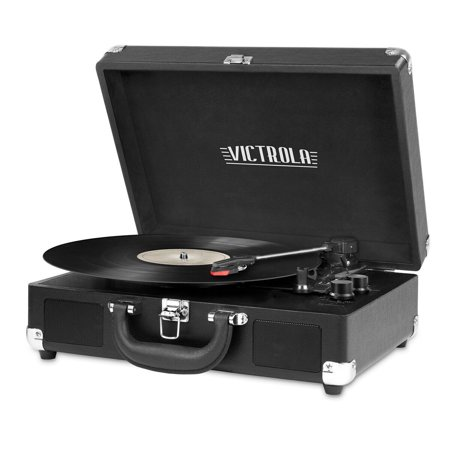 Portable Victrola Suitcase Record Player with Bluetooth and 3 Speed Turntable, Black