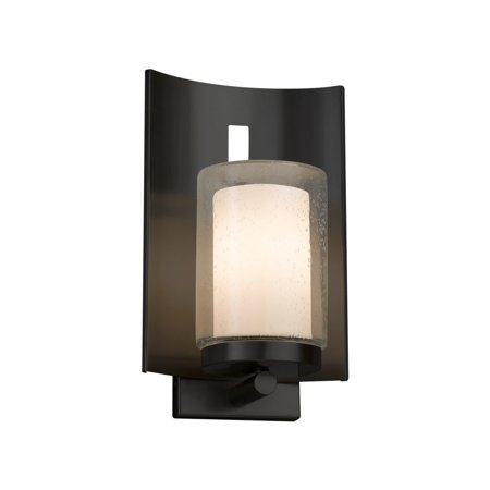 Justice Design Group  Fusion Embark 1-light Matte Black Outdoor Wall Sconce, Opal Cylinder - Flat Rim Shade