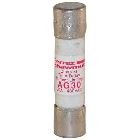 Mersen/Ferraz Shawmut 30A Time Delay Cylindrical Class G Fuse 480VAC, AG30 (Ferraz Shawmut Fuse)