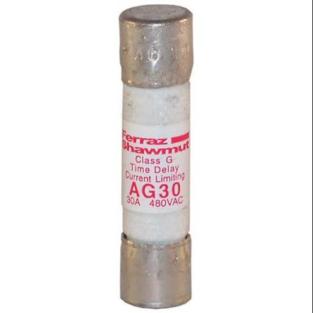 Mersen/Ferraz Shawmut 30A Time Delay Cylindrical Class G Fuse 480VAC, AG30