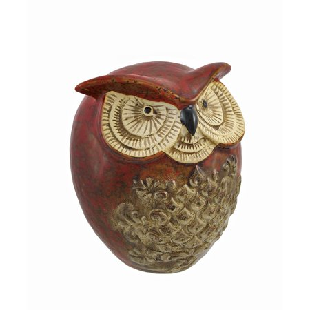 Red and Brown Ceramic Owl Statue Decor 7 In.