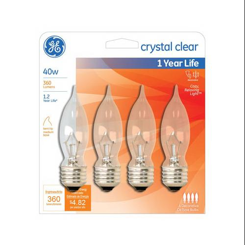 G E LIGHTING Candelabra Light Bulb, Bent-Tip, Clear, 40-Watt, 4-Pk.