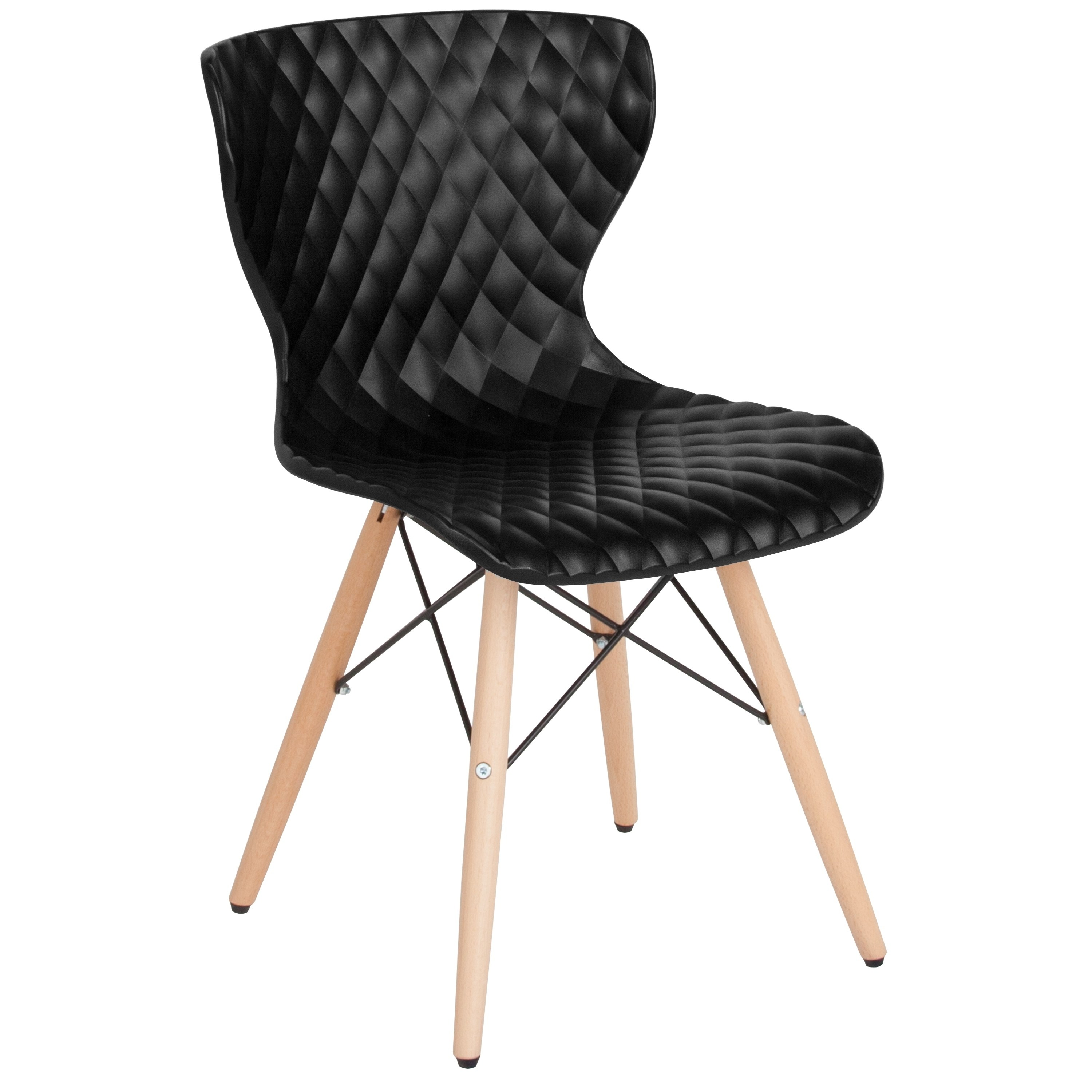 Lancaster Home Bedford Contemporary Design Plastic Chair with Wooden Legs