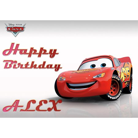 Disney Cars Lightning McQueen Edible Cake Image Personalized Toppers Icing Sugar Paper A4 Sheet Edible Frosting Photo Cake Topper 1/4