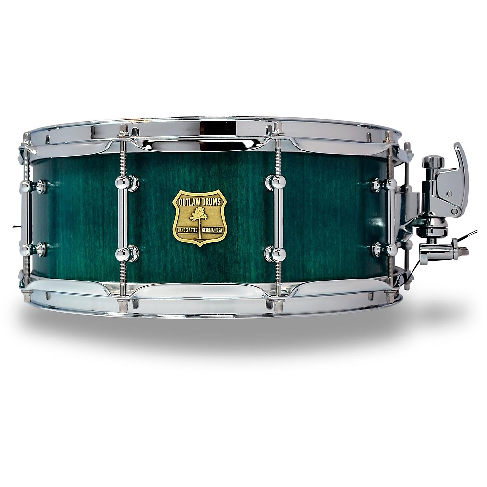 OUTLAW DRUMS Poplar Stave Snare Drum with Chrome Hardware 14 x 5.5 in. Emerald Cove by OUTLAW DRUMS