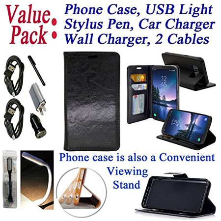 "Value Pack Cables Chargers + for 5.8"" Samsung Galaxy S8 ACTIVE Case Phone Case Hybrid Fold Wallet Kick Stand Pouch Purse Screen Flip Cover Black Combo Set"