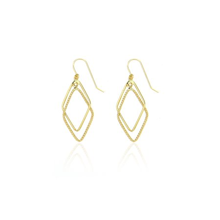14k Yellow Gold Designed Lozenge Diamond Shaped Drop Dangle Earring in Gift Box for Women and Teen (Gold Lozenge)