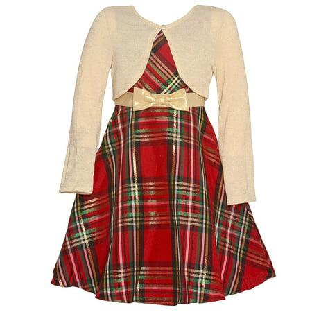 Rare Editions Baby Girls Red Tartan Bolero Tea-Length Christmas - Tarzan Dress