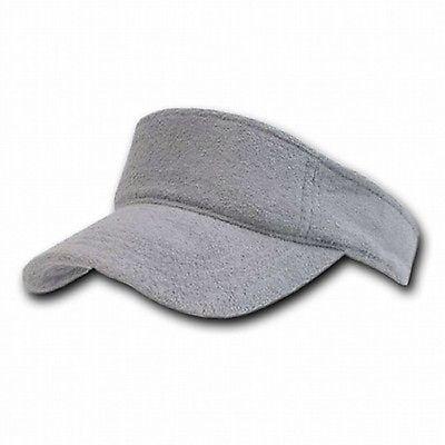 Golf Terry Visor - Light Gray Terry Cloth Golf Tennis Plain Adjustable Sun Visor Cap Caps Hat Hats