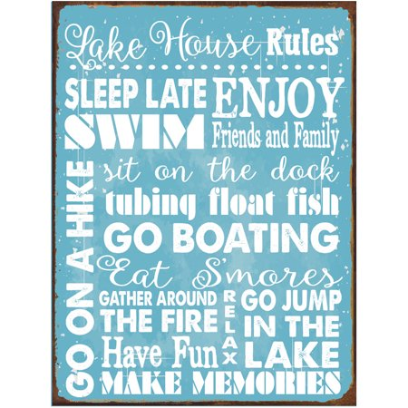 Lake House Rules Metal Sign ()