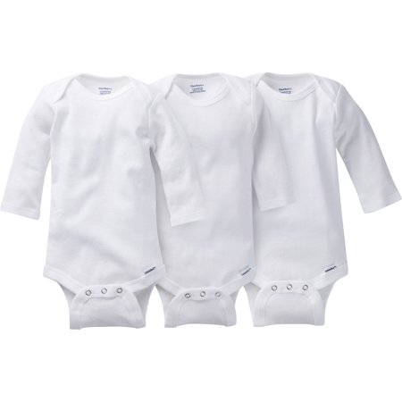 Gerber Newborn Baby Boy, Girl or Unisex Onesies Brand White Long Sleeve Bodysuit, 3-Pack